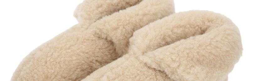 Тапочки-теплушки из овечьей шерсти