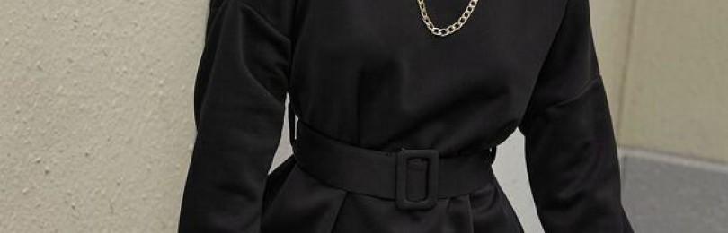 Черное повседневное платье с поясом