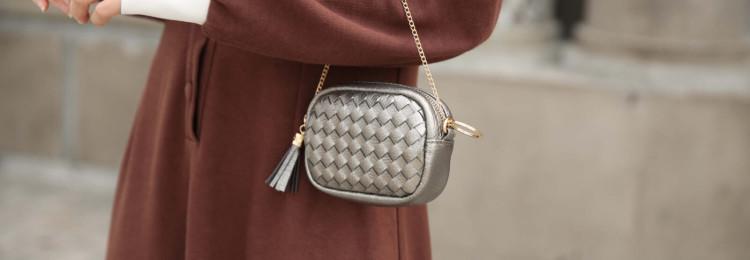 Плетеная женская сумка-мессенджер через плечо