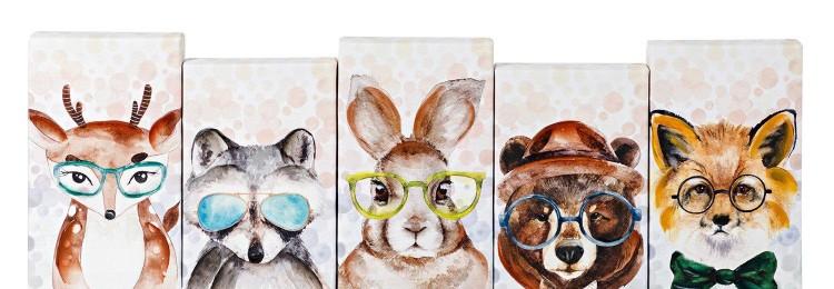 Модульная картина из 5 частей «Животные» 60х20 см