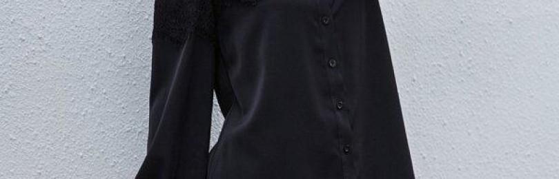 Черное платье-рубашка с кружевом
