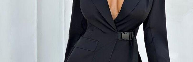 Черное короткое платье-пиджак