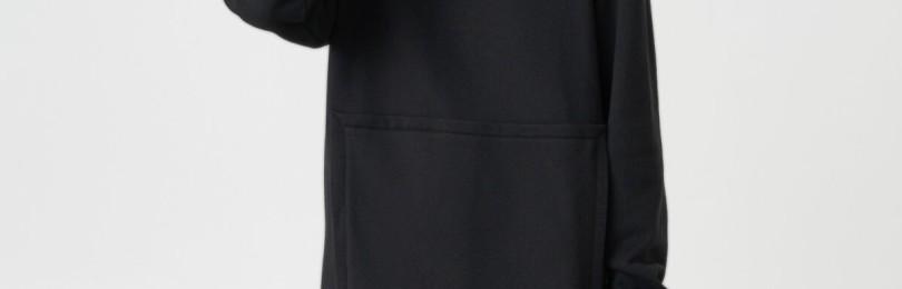 Черное платье худи