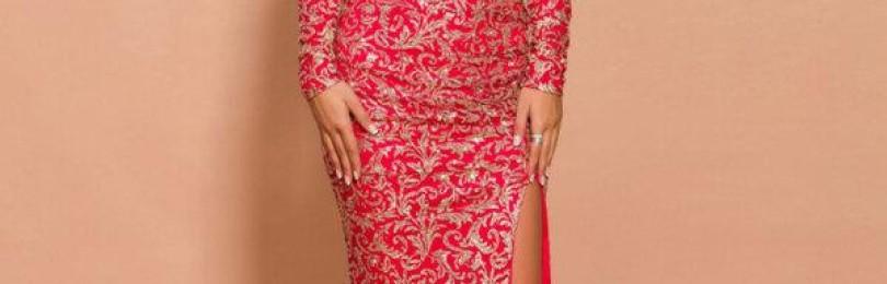 Вечернее кружевное красное длинное платье с открытыми плечами
