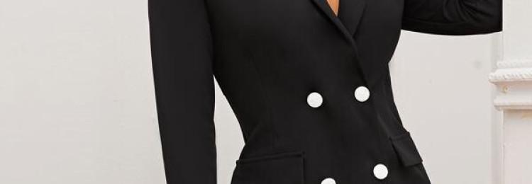 Черное короткое платье-блейзер