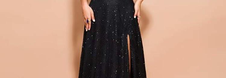 Черное длинное с разрезом блестящее платье с открытыми плечами