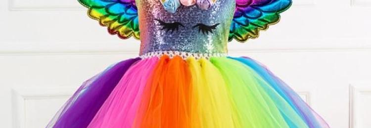 Пышное разноцветное платье «Единорог» для девочки