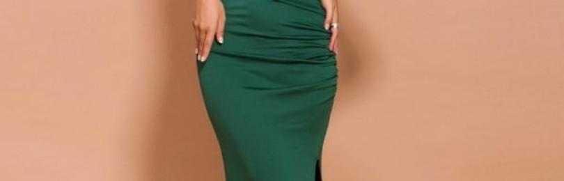 Вечернее зеленое длинное платье на одно плечо